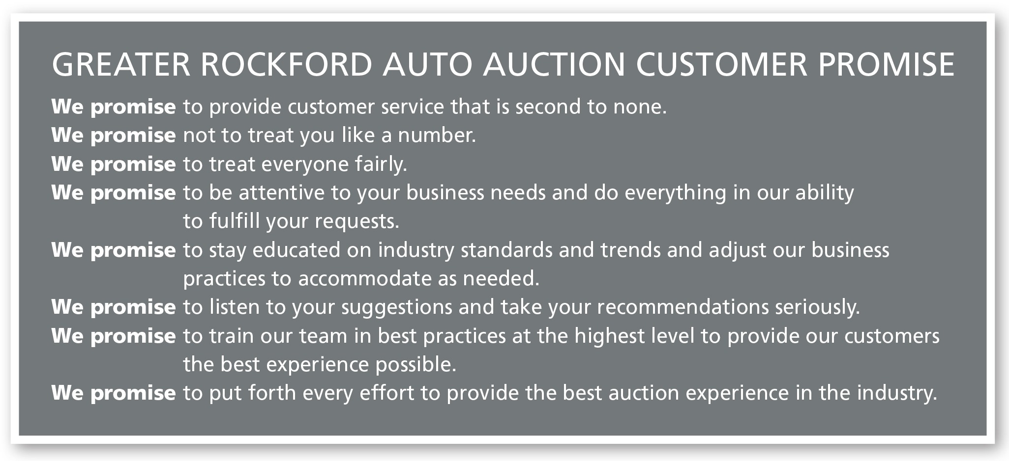 Greater Rockford Auto Auction We Promise