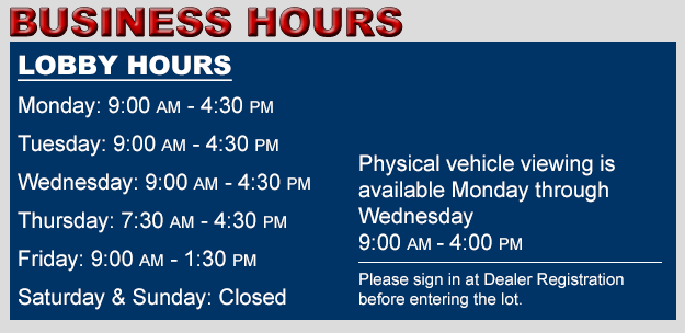 Ocean State Auto Auction Business Hours